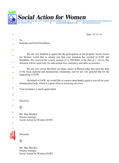 Microsoft Word - Acknowledgement letter (Hnin  Oct )25-11-14.doc